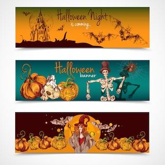 Coleção de banners de Halloween