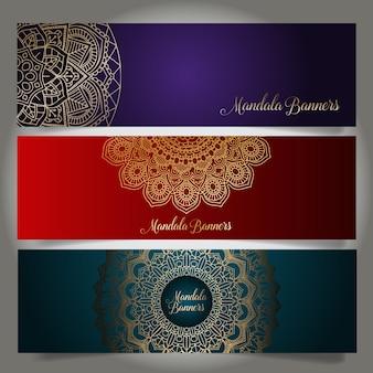 Coleção de banners de luxo com projetos de mandala