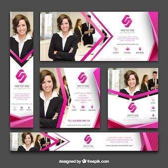 Coleção de banners de negócios abstratos