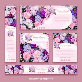 Coleção de banners floristas