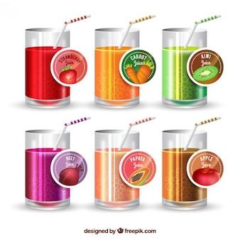 Coleção de bebida de frutas e vegetais