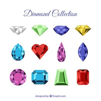Coleção de belos diamantes e pedras preciosas