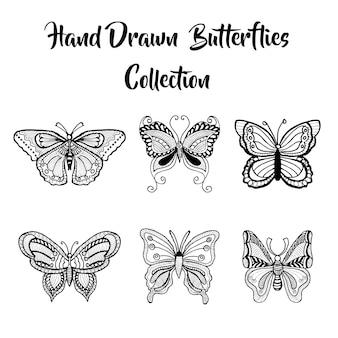 Coleção de borboletas desenhadas à mão
