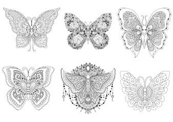 Coleção de borboletas desenhadas a mão