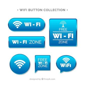 Coleção de botões wifi em design realista