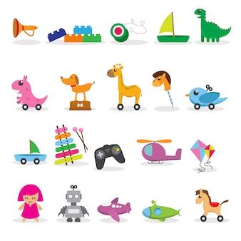 Coleção de brinquedos de criança