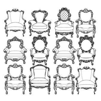 Coleção de cadeiras decorativas