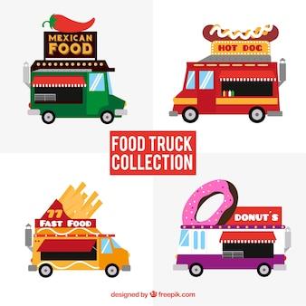 Coleção de caminhões de alimentos com variedade de fast food