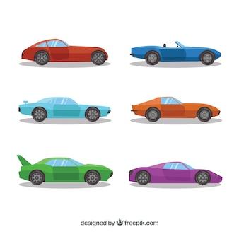 Coleção de carros esportivos em cores diferentes