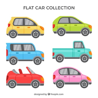 Coleção de carros plana