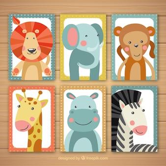 Coleção de cartão com belos animais selvagens