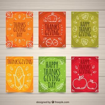 Coleção de cartões de Ação de Graças