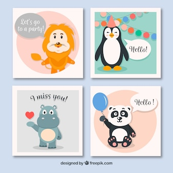 Coleção de cartões de animais com estilo divertido