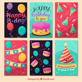 Coleção de cartões de aniversário bonitos