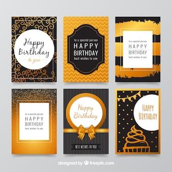 Coleção de cartões de aniversário elegante