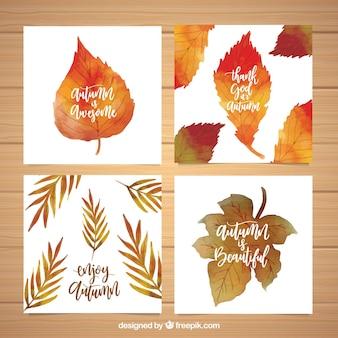 Coleção de cartões de aquarela com folhas de outono