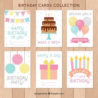 Coleção de cartões de desejo de aniversário