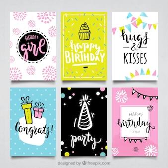 Coleção de cartões de feliz aniversario desenhada a mão