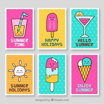 Coleção de cartões de hora de verão