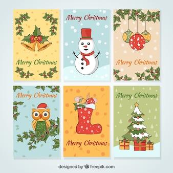 Coleção de cartões de Natal desenhada a mão