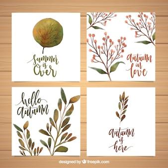 Coleção de cartões de outono com estilo aquarela