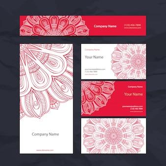 Coleção de cartões de visita em estilo étnico Desenho de mão