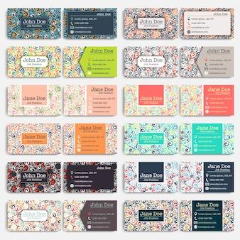 Coleção de cartões de visita. Redemoinhos, elementos de cachos. Papéis de papelaria corporativos corporativos coloridos.