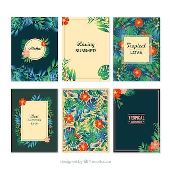 Coleção de cartões tropicais de verão
