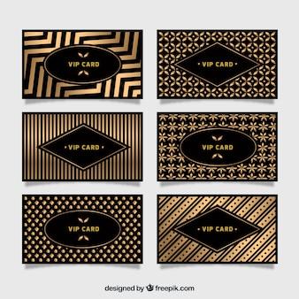 Coleção de cartões vip dourados com padrões