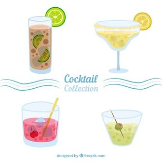 Coleção de cocktails de design plano