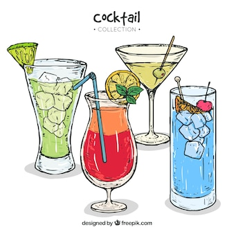 Coleção de cocktails desenhados à mão