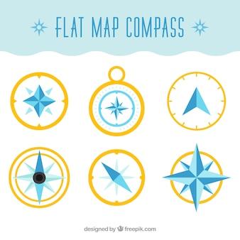 Coleção de compasso de mapa plano dourado