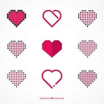 Coleção de corações abstratos