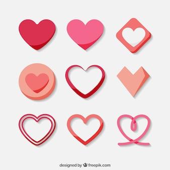 Coleção de corações decorativos