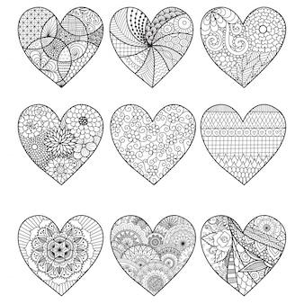 Coleção de corações desenhados a mão