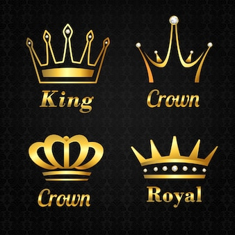 Coleção de coroas douradas