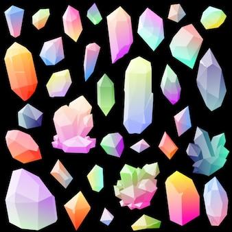 Coleção de cristais coloridos do vetor