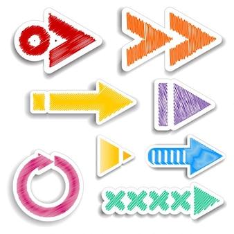 Coleção de desenhos de seta rabiscadas coloridos