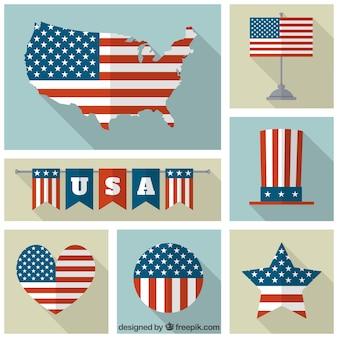 Coleção de diferentes bandeiras dos eua