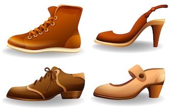 Coleção de diferentes estilos de sapatos masculinos e femininos