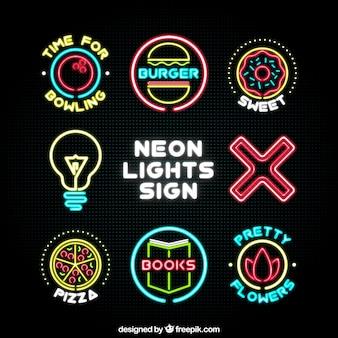 Coleção de diferentes sinais de néon