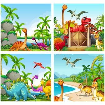 Coleção de dinossauros fundos