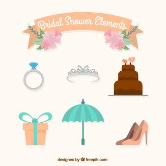 Coleção de elementos bonitos do casamento