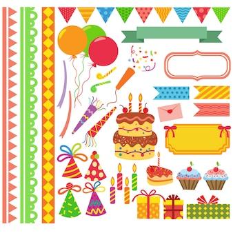 Coleção de elementos de aniversário
