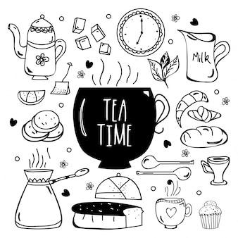 Coleção de elementos de doodle desenhada a mão pelo tempo do chá.