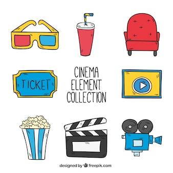 Coleção de elementos de filmes desenhados mão