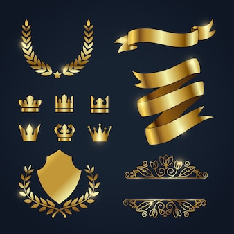 Coleção de elementos de ouro