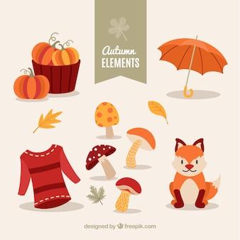 Coleção de elementos de outono com raposa pequena bonita