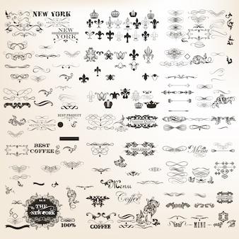 Coleção de elementos decorativos de luxo