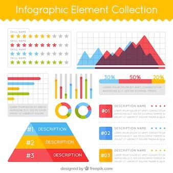 Coleção de elementos decorativos em desenho plano para infografia